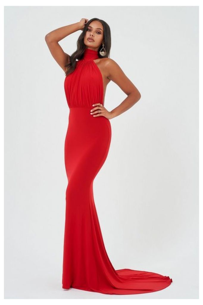 Womens **Red Backless Halter Maxi Dress By Club L - Red, Red