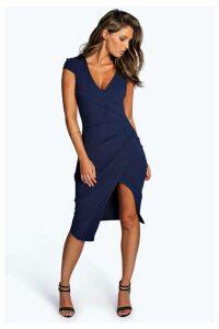 Womens Boohoo Cap Sleeve Wrap Midi Dress -  Blue