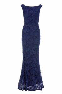 Quiz Navy Glitter Lace Fishtail Maxi Dress