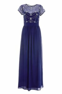 Quiz Navy And Silver Embellished Maxi Dress