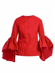 Marques'almeida - Oyster Bell Sleeve Cotton Top - Womens - Red