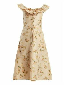 Brock Collection - Dawn Off The Shoulder Silk Taffeta Dress - Womens - Beige Print