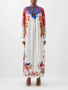 Valentino - Panelled Lace V Neck Dress - Womens - Red
