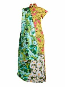 Richard Quinn - Contrast Panel Dip Hem Floral Print Satin Dress - Womens - Blue Multi