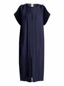 Maison Rabih Kayrouz - Ruched Shoulder Midi Dress - Womens - Navy