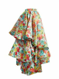 Richard Quinn - Floral Print Asymmetric Tiered Skirt - Womens - Multi