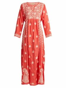 Muzungu Sisters - Floral Embroidered Silk Dress - Womens - Pink