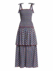 Gül Hürgel - Floral Print Smocked Cotton Dress - Womens - Blue Print