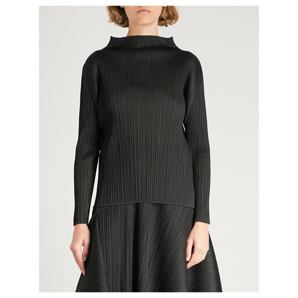 Pleats Please Issey Miyake Ladies Black High-Neck Pleated Top