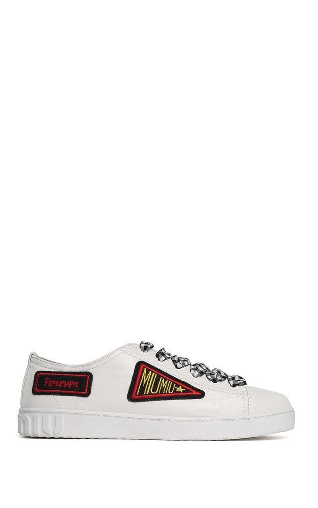 Miu Miu Miu Miu Patches Low-top Leather Sneakers