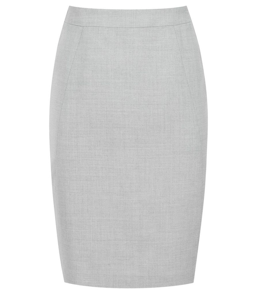 Reiss Haven Skirt - Knee Length Pencil Skirt in Grey, Womens, Size 14