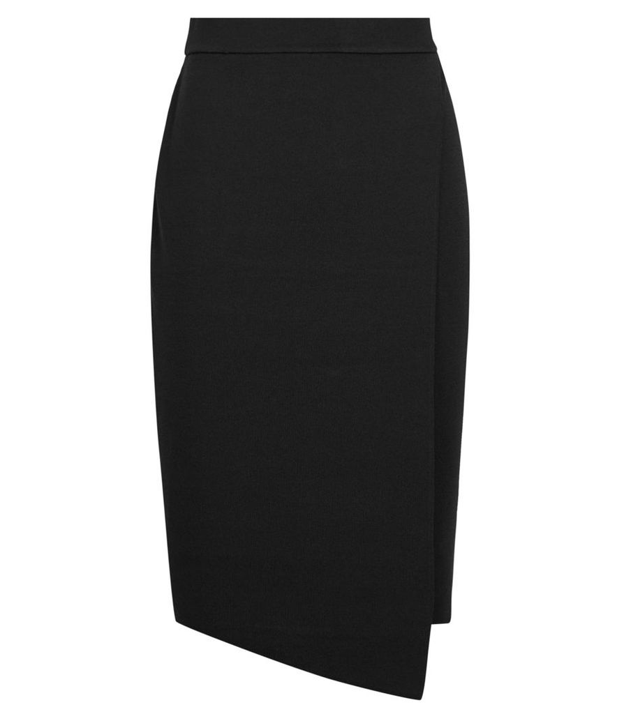 Reiss Jessie - Knitted Wrap Skirt in Black, Womens, Size 14