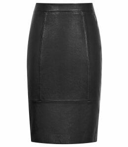 Reiss Kristen - Leather Skirt in Black, Womens, Size 14