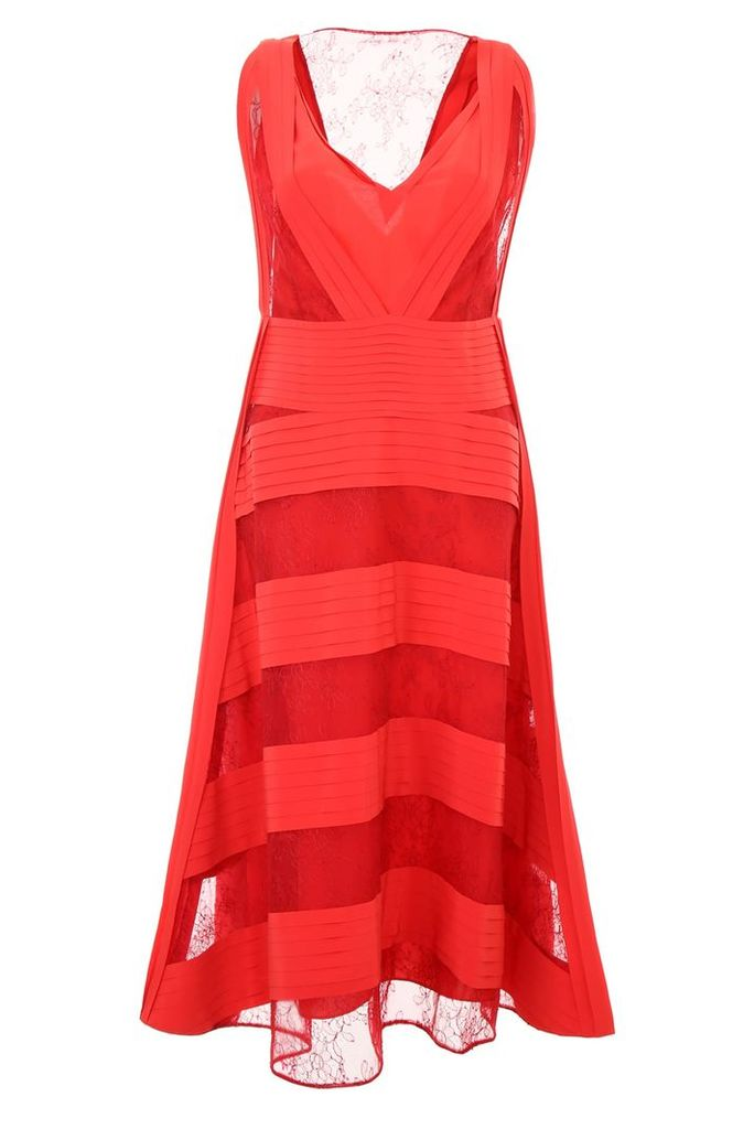 Valentino Pleated Crepe And Lace Dress