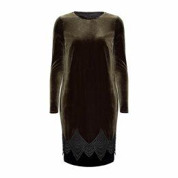 Nissa - Khaki Midi Velvet Dress