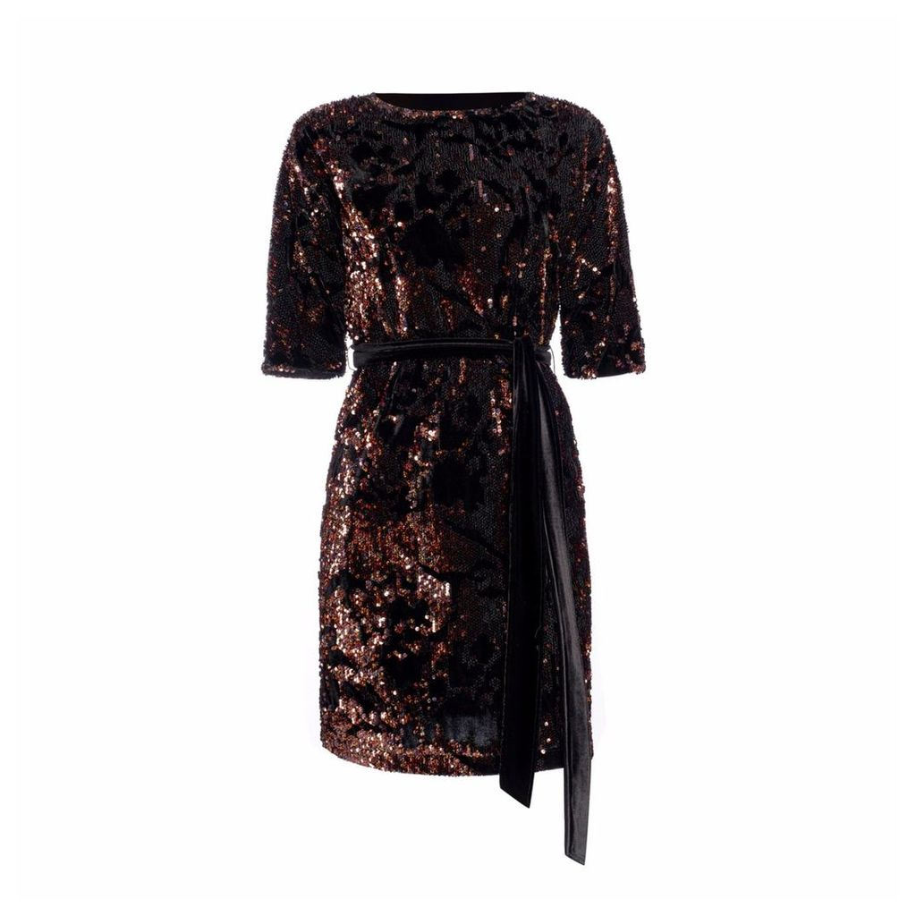 Nissa - Mini Brown Sequin Dress
