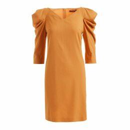 WtR - Sherry Draped Shoulder Wool Dress Mustard
