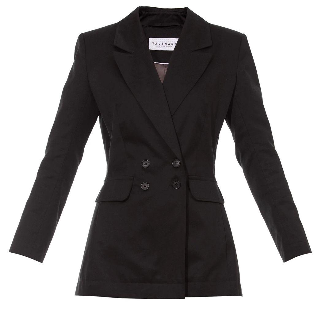 Vols & Original - Black & Purple Leather Bomber Jacket With Silver Print Motif