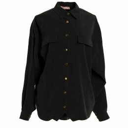 Vols & Original - Black & Red Leather Bomber Jacket With Leopard Print Motif