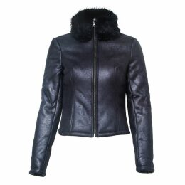 VHNY - Shearling Look Coat With Faux Fur Collar