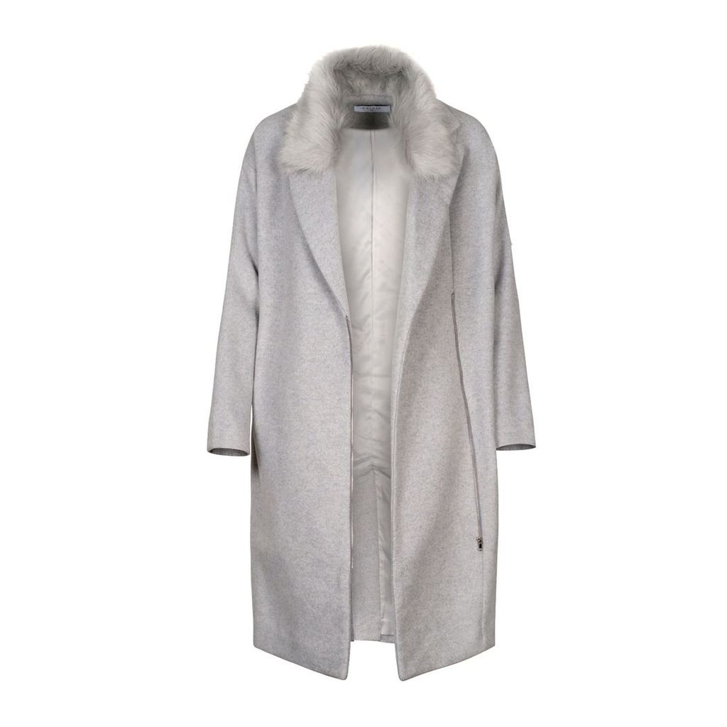 PAISIE - Wool Blend Coat With Faux Fur Collar