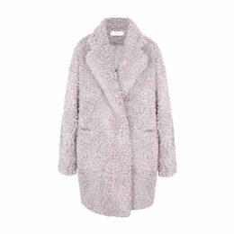 PAISIE - Fluffy Teddy Bear Coat In Lilac