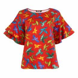 Asneh - Helen Sweater Candy Pink with Cornflower Blue Silk Tie