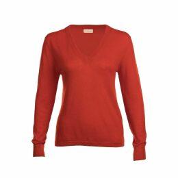 Asneh - Poinciana Red Mathilda V Neck Cashmere Sweater