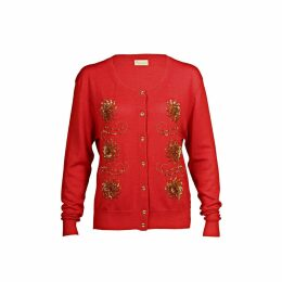 Asneh - Red Krystle Cashmere Cardigan