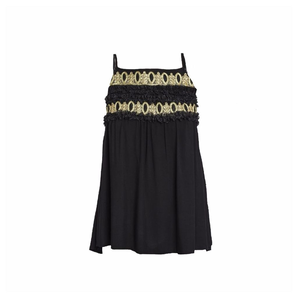 CoCo VeVe - Ray Tassel Tie Top in Black & Gold