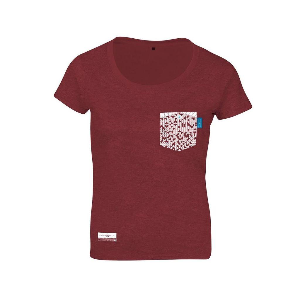 ANCHOR & CREW - Fire Brick Red Digit Print Organic Cotton T-Shirt