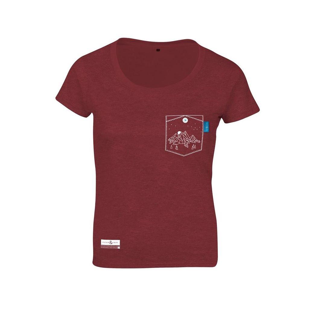 ANCHOR & CREW - Fire Brick Red Horizon Print Organic Cotton T-Shirt