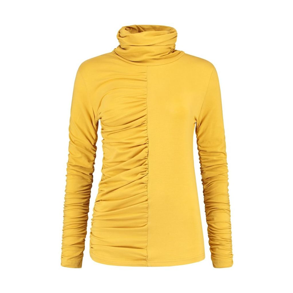 blonde gone rogue - Gathered Turtleneck Blouse In Yellow