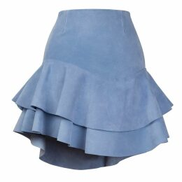S I O B H A N M O L L O Y - Lashes Baby Blue Calf Suede Skirt