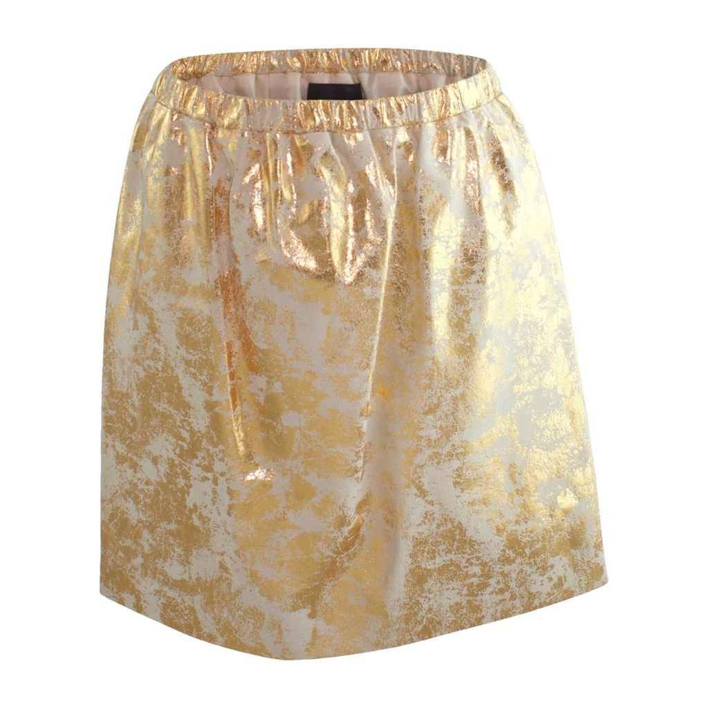 Claire Andrew - Gold Distressed Leather Skirt