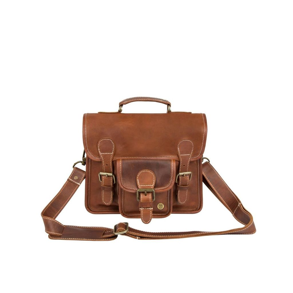 MAHI Leather - Mini Leather Harvard Satchel Messenger Bag Handbag Clutch Bag In Vintage Brown