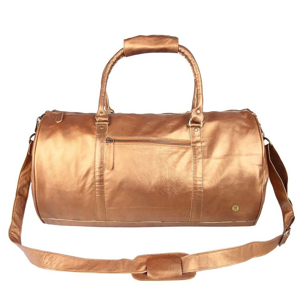 MAHI Leather - Leather Weekend Classic Duffle & Holdall Bag In Bronze