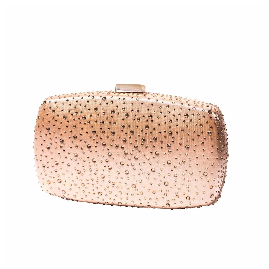Nissa - Nude Clutch with Transparent Crystals
