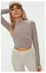 Taupe Slinky High Neck Long Sleeve Crop Top, Brown