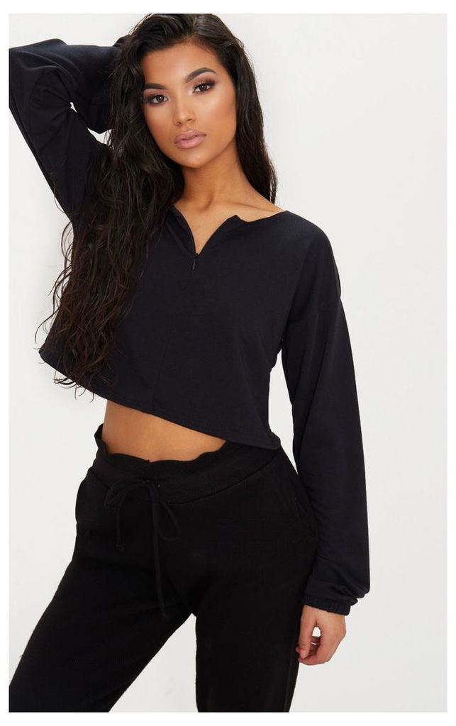 Black Zip Front Sweater, Black