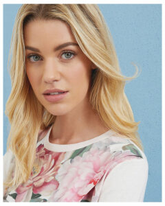 Ted Baker Painted Posie cotton asymmetric jumper Baby Pink