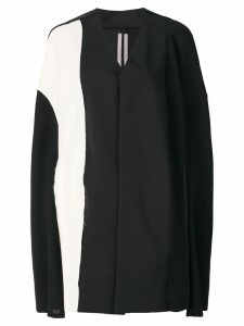 Rick Owens colour block cape coat - Black
