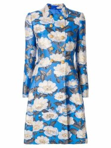 Dolce & Gabbana floral double breasted jacquard coat - Blue