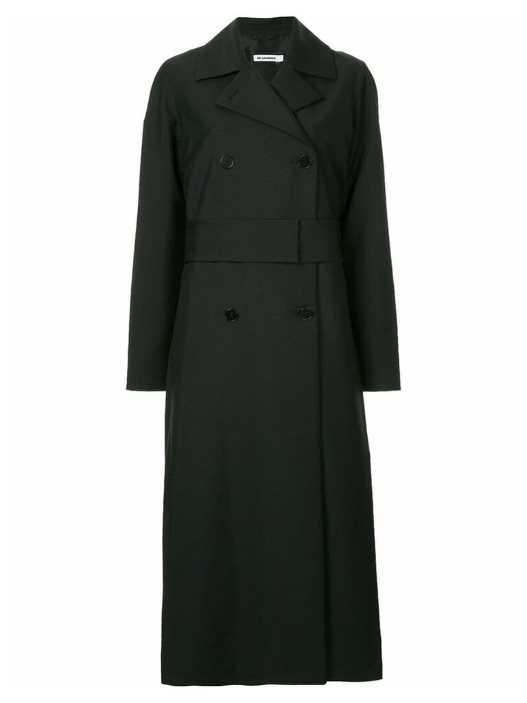 Jil Sander long double-breasted coat - Black