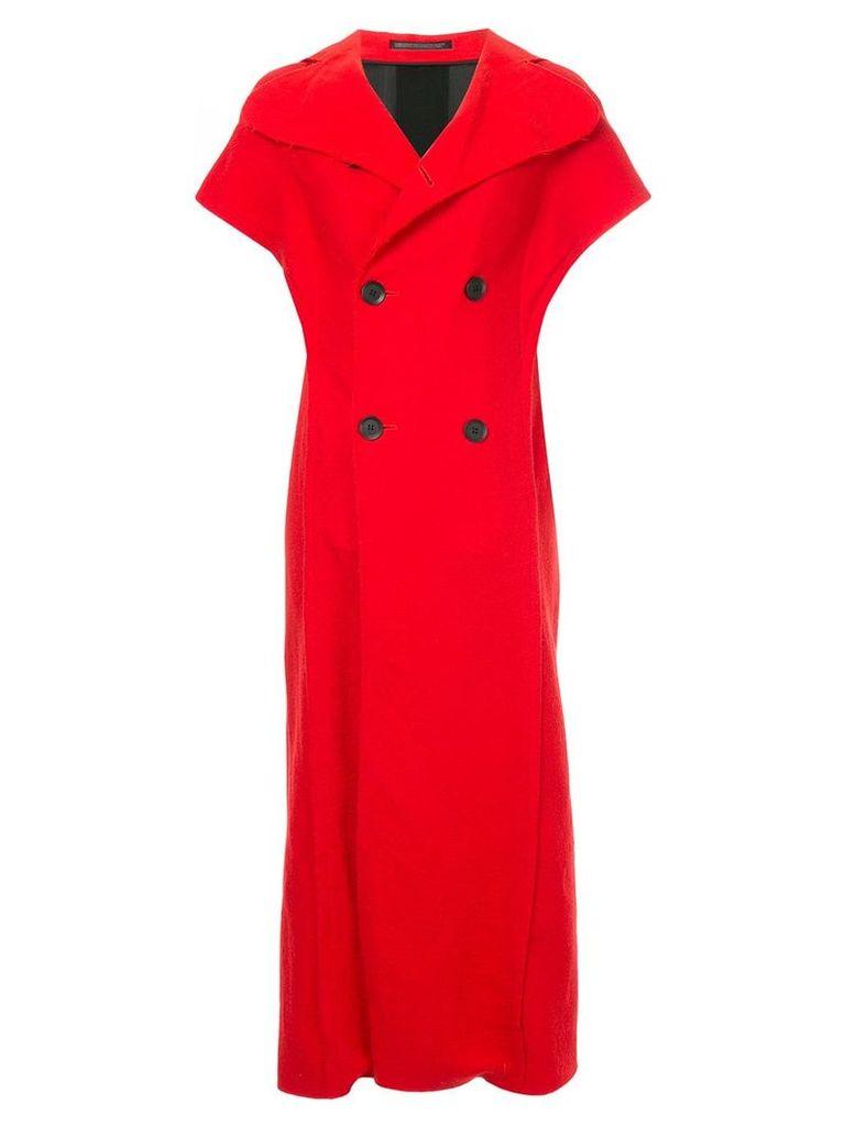 Yohji Yamamoto Vintage contrast panel sleeveless coat - Red