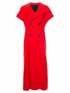Yohji Yamamoto Pre-Owned contrast panel sleeveless coat - Red