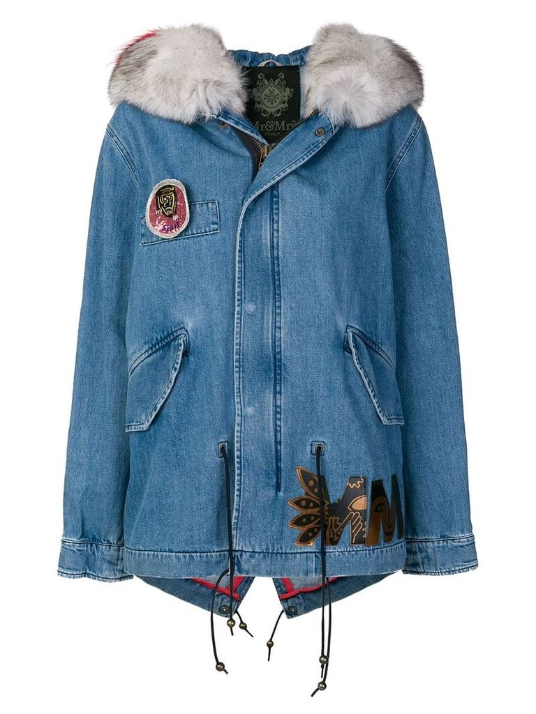 Mr & Mrs Italy denim short parka coat - Blue