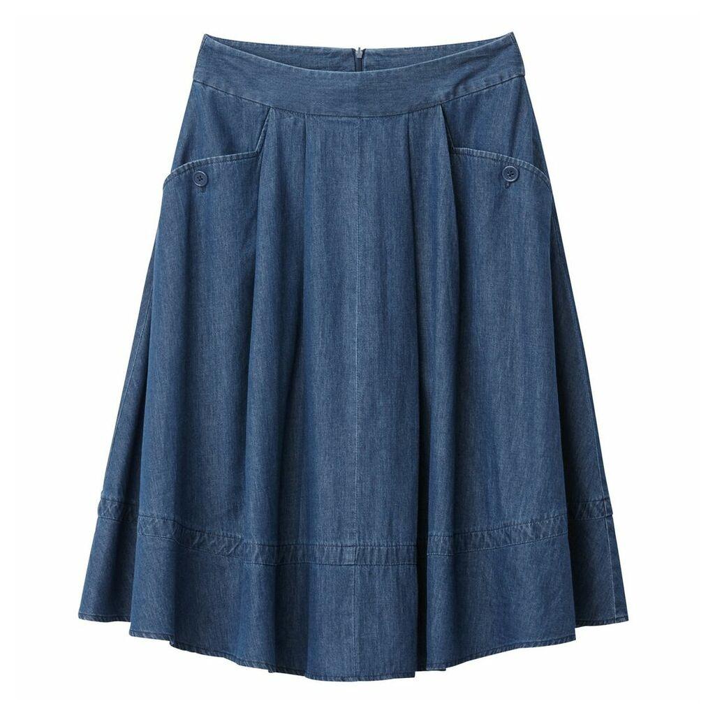 Denim Two Pocket Midi Skirt