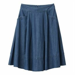Denim Two Pocket Midi Skirt