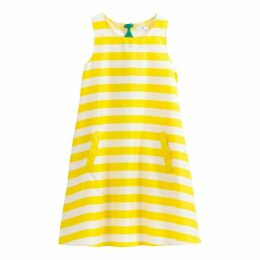 Striped A-Line Dress with Back Bow